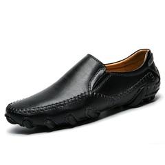Vintage Genuine Leather Men Casual Loafer Slip On Shoes Breathable Handsome black 39