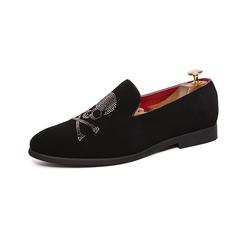 Simple Business Formal Leather Men Driving Shoes Summer Slip On Loafer Skull black 39