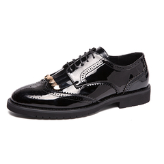 Big Size Men Dress Shoes Shiny Leather Formal Lace Up Brogue Office Meeting black 38 pu leather