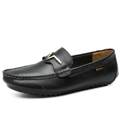 Good Leather Casual Soft Men Driving Shoes Loafers Breathable Metallic Design black 39