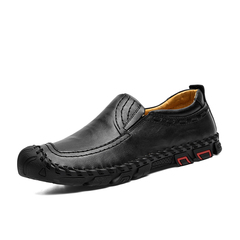 Summer Cool Slip On Loafer Men Driving Shoes Cap Toe Protection Cow Leather black 39
