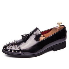 Men Dress Formal Shoes Slip On Business Party Cap Toe Rivets Studs Cap Toe black 39 pu leather