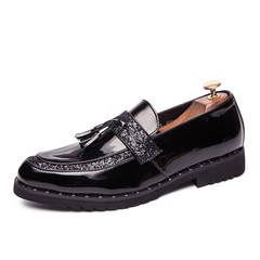 Formal Party Men Dress Shoes Rhinestone Tassel Loafer Shining Gold Business black 38 pu leather