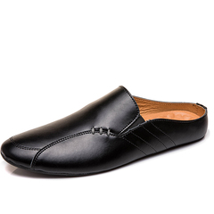 Summer Men Driving Shoes Backless Loafers Open Backs Breathable Leisure black 39