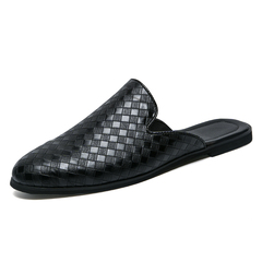 Breathable Summer Plaid Pattern Men Driving Shoes Backless Loafers Cool black 39
