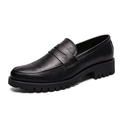 Handsome Smart Office Italian Formal Leather Men Dress Shoes Slip On Classic black 38 pu leather
