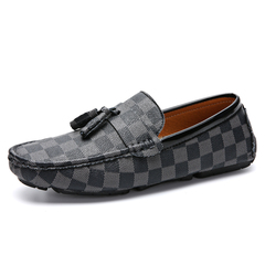 Elegant Luxurious Gommino Loafer Men Driving Shoes Summer Slip On Plaid grey 39