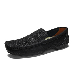 Simple Fashion Men Casual Loafer Shoes Young Breathable Soft Leather Hipster black 39