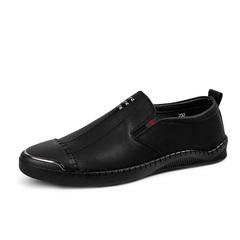 Elegant Leather Men Dress Shoes Formal Slip On Metallic Handmade Shiny Cap Toe black 39