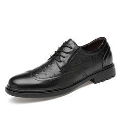 Classic Wingtip Men Dress Brogues Shoes Formal Meeting Wedding Genuine Leather black 38 genuine leather