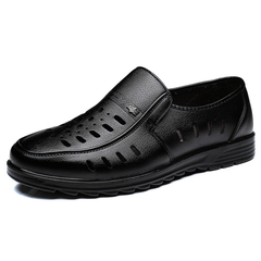 Luxurious Italian Formal Men Dress Shoes Formal Slip On Carved Holes Breathable black 38 pu leather