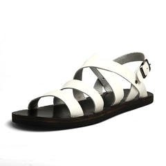 Big Size Men's Leather Gladiator Sandal Outdoor Beach Shoe Breathable Waterproof white 38