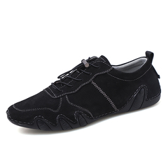 Classic Design Casual Simple Genuine Leather Men's Slip On Driving Shoes Cool black 39