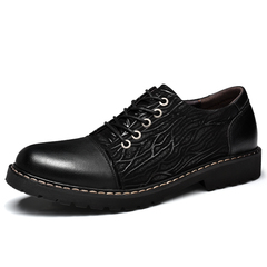 Vintage Genuine Leather Men Dress Shoes Brogues Handmade Wedding Gentleman Business black 38 genuine leather