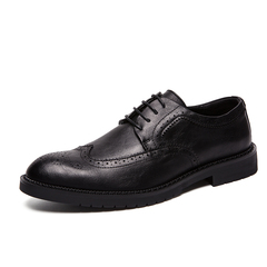 Big Size 38~47 New Luxury Leather Men Dress Shoes Brogues Derbies Business Office black 38 pu leather