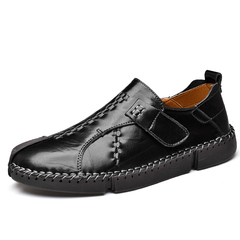 Big Size 38~48 Men Dress Formal Shoes Slip On Genuine Leather Cap Toe Buckle Close black 38 genuine leather