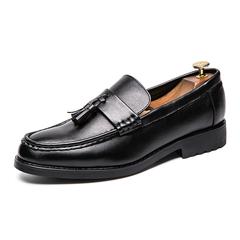 Fashion Good Leather Men Dress Shoes Tassel Formal Slip On Moccasins England Flat black 38 pu leather