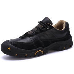 Big Size New Fashion Men Hiking Shoes Climbing Outdoor Handsome Genuine Cow Leather black 38