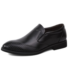 Vintage Formal Wingtip Leather Men Dress Shoes Slip On Handsome Cool Business black 38 pu leather