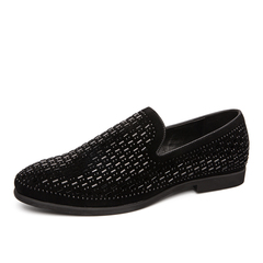 Classy Business Party Vintage Formal Slip On Men Driving Shoes Handsome Cool Plaid black 38 pu leather