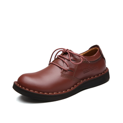 High Quality Genuine Leather Men Dress Shoes Formal Lace Up Business Big Round Toe red 38 genuine leather
