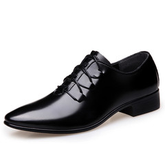 New Vintage Formal Wingtip Men Dress Shoes Handsome Cool Business Office Pointed Toe black 38 pu leather