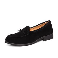Big Size Vintage Men Formal Business Slip On Shoes Dress Suede Bowknot High Quality black 38 genuine leather