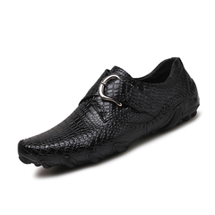 Fashion Soft Cow Leather Men Driving Shoes Formal Slip On Crocodile Breathable Buckle black 38 genuine leather