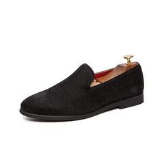 Fashion Men Formal Shoes Slip On Loafer Smoking Business Party Wedding Shiny Design black 38 pu leather