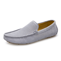 Summer Soft Modern Hollow Out Cool Men Casual Loafer Shoes Comfortable Driving Breathable grey 39