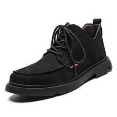 Big Size Modern Winter Men Ankle Boots Shoes Vintage Premium Genuine Suede Leather Platform black 39