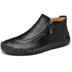Big Size 38~48 Modern Winter Men Ankle Boots Zipper Shoes Vintage Premium Leather Handsome black 39
