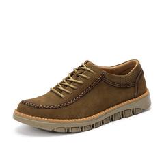 Classic Fashion Men Brogues Shoes Formal Lace Up Wingtip Design Cowboy Genuine Cow Leather khaki 38 genuine leather