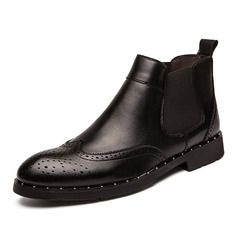 Classic Cow Leather Men Chelsea Boots High Cut Shoes Vintage Platform Formal Breathable black 39