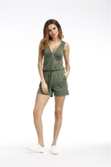 pure color women leisure jumpsuits sleeveless V-neck zipper style six colors seven size Army green s