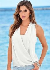 summer hot selling women chiffon sleeveless shirt V-neck sexy blouse four colors six size white s
