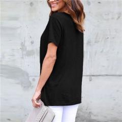 women Simple pure color T-shirt sexy v-neck corn belt short sleeve blouse four colors four size black s