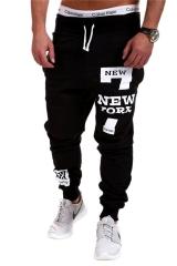 Men's casual sport trousers  Hip-hop style little feet pencil pants four colors five size black M