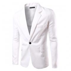 men's suits pure color business suits big yard five size eight colors white M