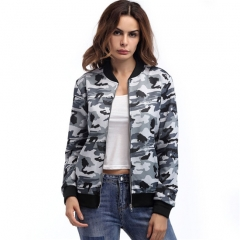 Camouflage Print Women Long Sleeve Slim blouse zipper army style jackets two colors A S
