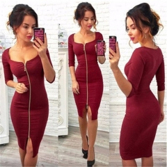 Pure color women's sexy dress zipper package buttocks style red black dark blue wine red S