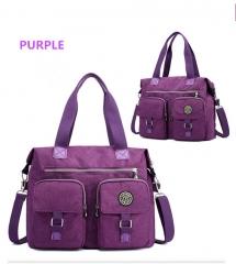 Leisure and fashion women's single shoulder bag large capacity six colors  nylon bag waterproof purple one size