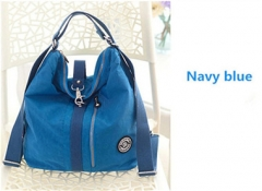 Lightweight multi-purpose  package large capacity women's hand bag can single shoulder and backpack Navy blue One size