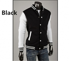 Men's classic baseball uniform  men's joining together style jacket six colors available Black M