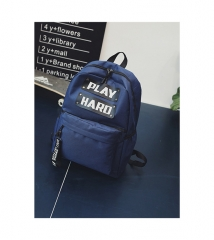New style student's canvas backpack and word printed large capacity bookbag four colors available blue one size