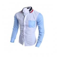 Fashion men's shirt knit collar color matching long sleeve slim style white M/XS
