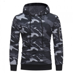 High quality men's hooded hoodie camouflage pattern leisure style coat gray M