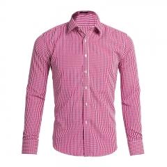 2018 hot selling men's long sleeve shirt plaid pattern for business men's design red S