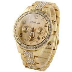 Watches Fashion Geneva Brand Full Steel Watch Men Casual Crystal Dress Quartz Wristwatches gold one size