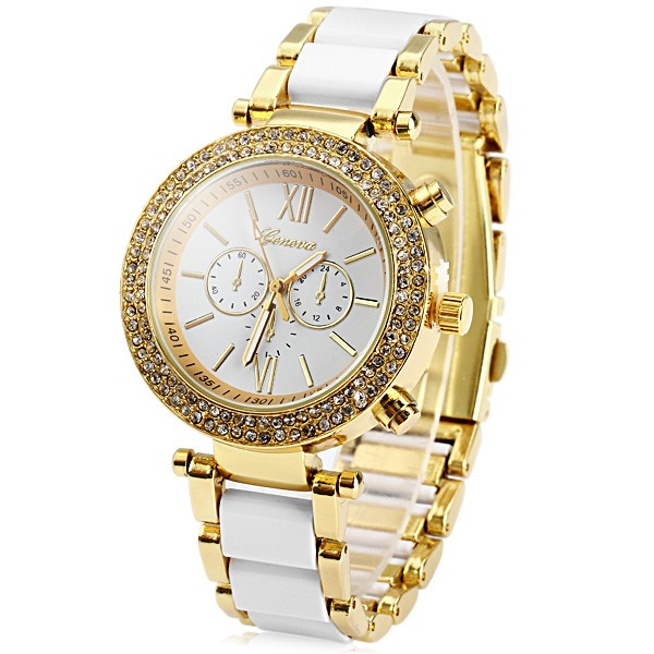 Unisex Quartz Geneva Watch Men Women Diamond Chronograph Ladies Clock Men Metal Men's Watches white
